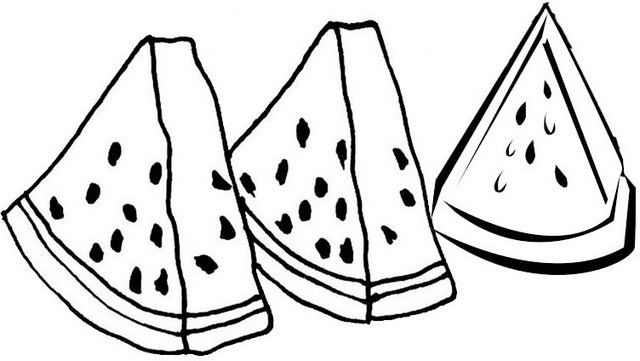 3 slices of watermelon coloring pages