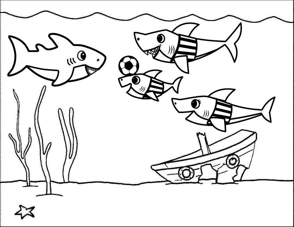 Baby Shark Playing Football Coloring Page