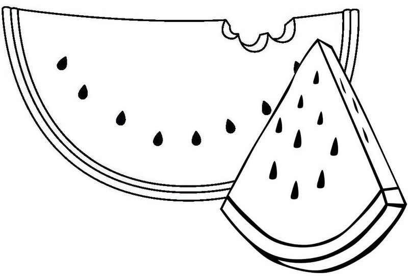 Bite of Watermelon Coloring Page