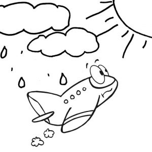 Cute Airplane Cartoon Flying to the Sun Destination Coloring Page