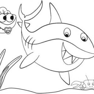 Cute Baby Shark Coloring Page