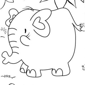 Cute Fat Elephant Cartoon Coloring Page