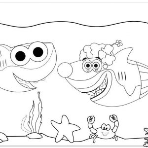 Daddy Shark and Mummy Shark Coloring Page of Baby Shark Doo Doo Doo