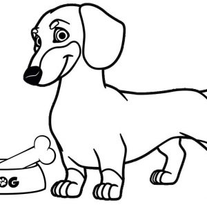 Dog ready to eat chicken bone coloring page