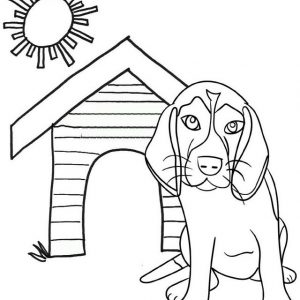 Droopy dog with his house coloring page kids love
