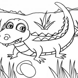 Fun baby crocodile cartoon coloring pages