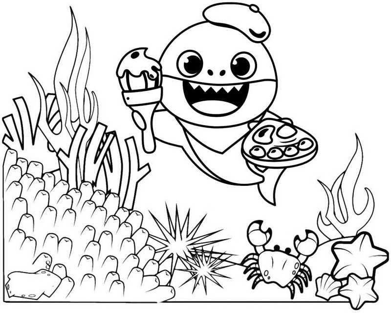 Funny Baby Shark Coloring Page for Free