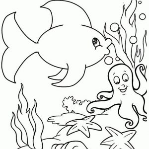 Great Detail Fish Octopus Starfish Coloring Page