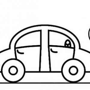 Happy Car Coloring Page for Kids