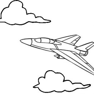 Jet Airplane Flying Coloring Page