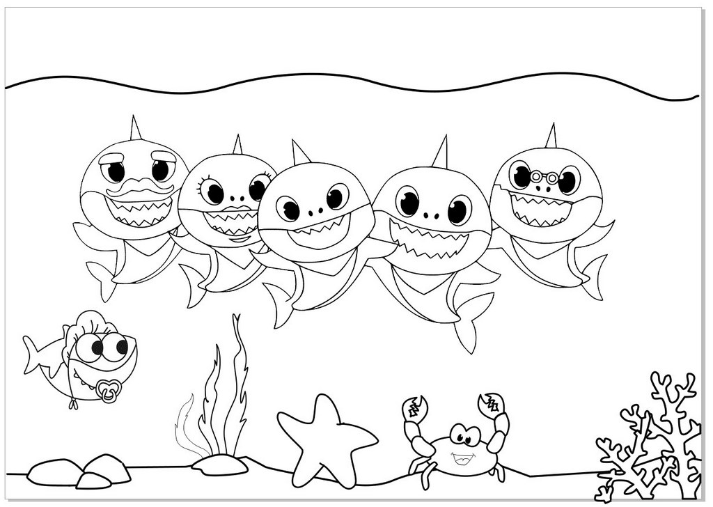 Pinkfong Baby Shark Coloring Page for Kids