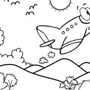 Plane Cartoon with Mountain View Scene Coloring Page