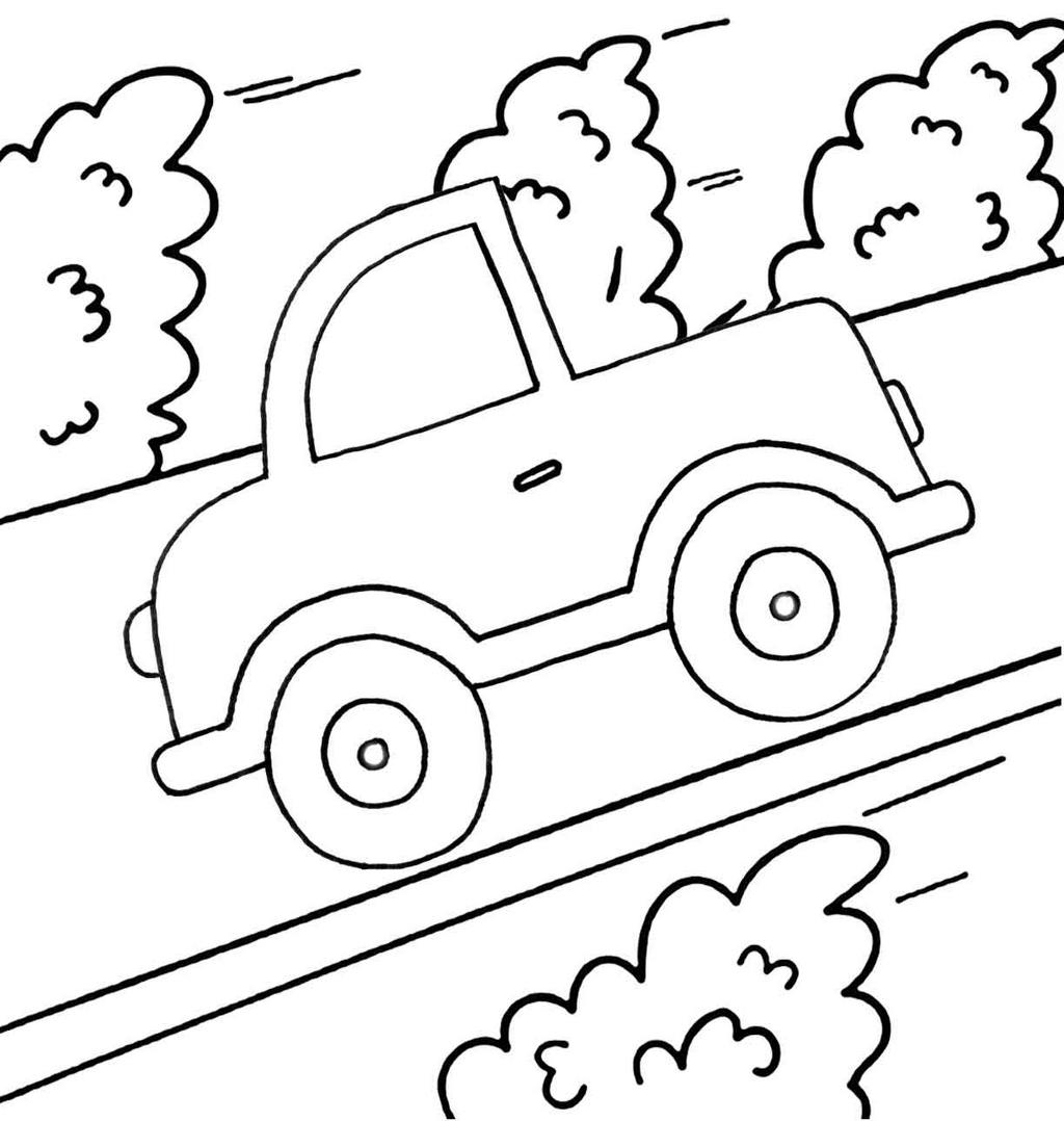 Printable Cute Car Cartoon Coloring Page for Free