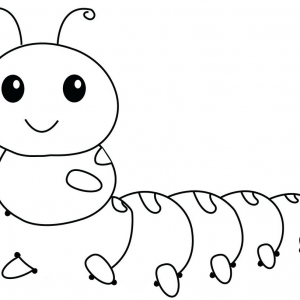 Simple Caterpillar Cartoon Connect the Dots for Kids