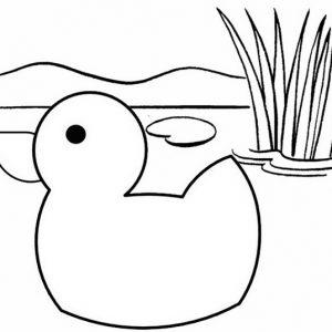 Simple Duck Cartoon Coloring Page