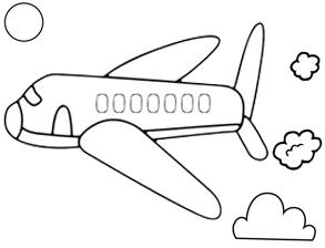 Simple Plane Flight Coloring Page