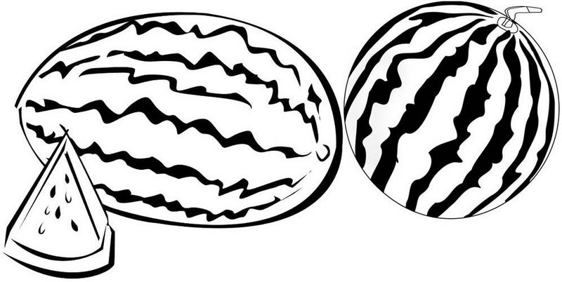 Two watermelons ready to cut coloring page