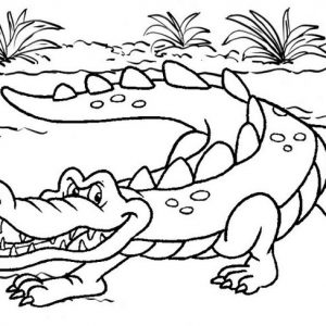 Wild Crocodile Coloring Page