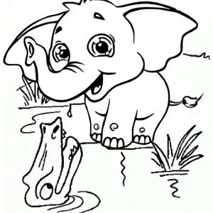 cute elephant of the crocodile river coloring page