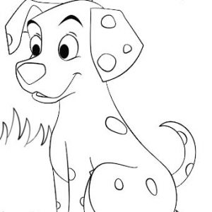 funny polkadot puppy dog coloring page