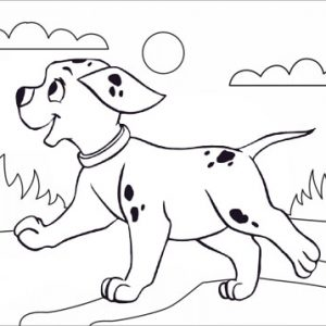 happy dog jumping with beautiful natural scene coloring page