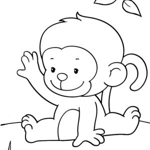 Baby Monkey Sitting Coloring Page