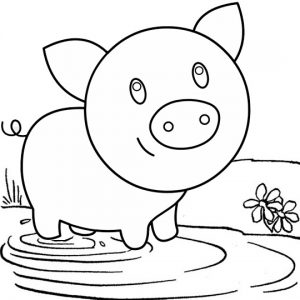 Baby Pig Playing in the Muddy Field Coloring Page
