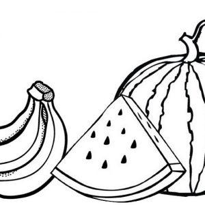 Banana and Watermelon Coloring Page of Fruits