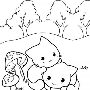 Best Cat Kiwi Coloring Page