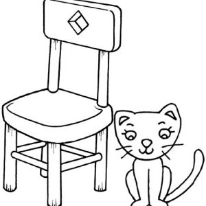 Cat Cartoon Beside a Chair Coloring Page