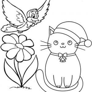 Cat and Bird Cartoon Coloring Page