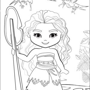 Cute Chibi Princess Moana Coloring Page