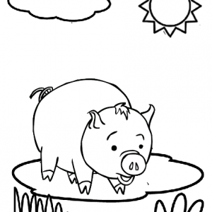 Cute Fat Pig Coloring Page