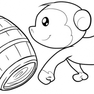 Cute Monkey Playing Wooden Barrel Coloring Page