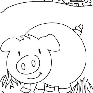 Funny Pig Cartoon Coloring Page