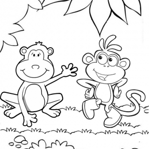 Funny Two Monkeys Cartoon Coloring Page