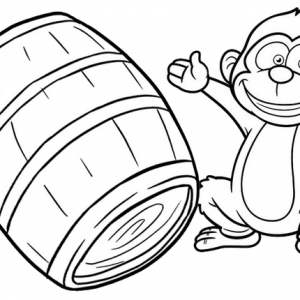 Happy Monkey Coloring Page for Kids