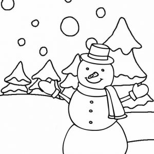 Happy snowman in winter coloring page