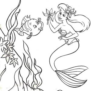 Little Mermaid Playing with Flounder Coloring Page