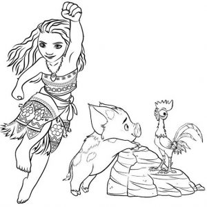 Moana Pua and Hei Hei Coloring Page