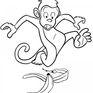 Monkey Slipping Due to Banana Coloring Page