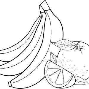 Orange Fruit and Banana Coloring Page