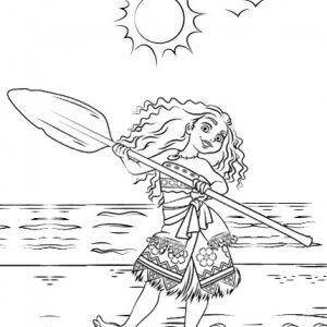 Princess Moana on a Voyage Coloring Page
