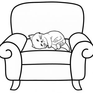 a Cat Sleeping in the Sofa Coloring Page