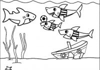Baby Shark Playing Football Coloring Page