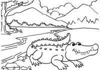 Crocodile Cartoon with River Scenery Coloring Page