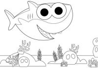 Fancy Baby Shark Coloring Page Printable