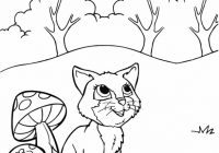 Funny Kitten with Beatiful Natural Scene Coloring Page
