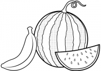 Green Watermelon and a Slice of Red Watermelon and Yellow Banana Coloring Page