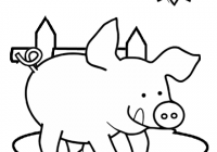 Happy Pig Cartoon Simple and Easy Coloring Page